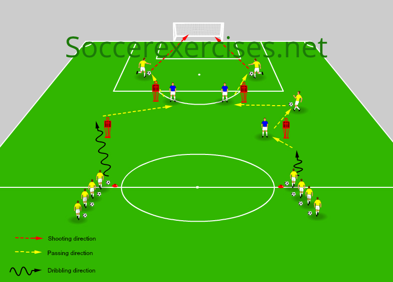 Passing and score a goal drill with dummy players - Soccer Exercises #59