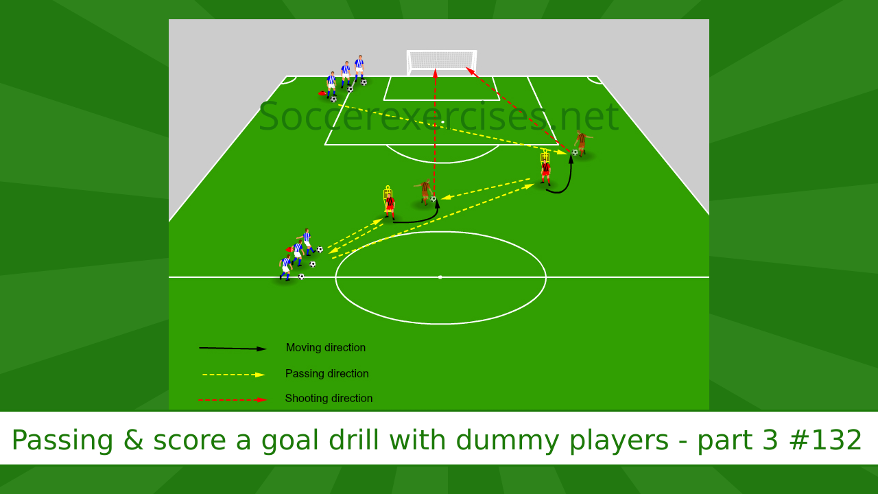 #132 Passing and score a goal drill with dummy players – part 3